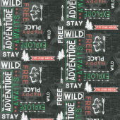 Cabin Welcome Flannel - Word Toss Black Yardage