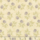 Clover Meadow - Puff Ball Floral Ivory Yardage