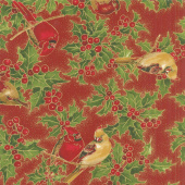 Cardinal Song Metallic - Cardinals Crimson Yardage