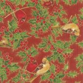 Cardinal Song Metallic - Cardinals Crimson Yardage