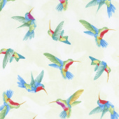 Humming Along - Hummingbirds Green Yardage