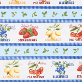 The Berry Best - Fruit Labels Stripe Multi Yardage