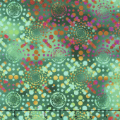 Dreamscapes II - Dot Burst Green Digitally Printed Yardage