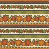 Harvest Berry - Harvest Pumpkin Stripe Cream Multi Yardage