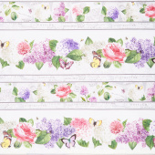 Scented Garden - Border Stripe White Multi Digitally Printed Yardage
