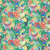 Tropical Flair - Birds White Yardage