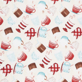 Cuppa Cocoa - Tossed Cups Cream Yardage