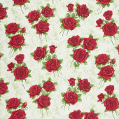 A Festival of Roses - Festive Lace Roses Green Pearlized Yardage