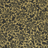 Holiday Flourish 12 - Flowers Black Metallic Yardage