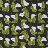 Magnificent Blooms - Calla Lily Black Multi Yardage