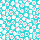 Fiddle Dee Dee - Flower Fiddle Turquoise Yardage