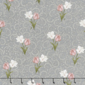 Totally Tulips - Pink & Grey Tulip Twirl Dark Grey Pearlized Yardage