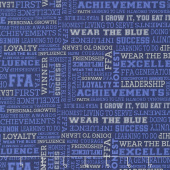 FFA Forever Blue - FFA Text Blue Yardage