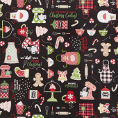 We Whisk You A Merry Christmas - Christmas Baking Black Yardage