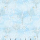 Snow Valley - Trees Medium Blue Yardage