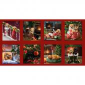 Fireside Pups - Christmas Puppies Block Multi Panel