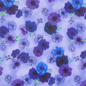 Misty - Allover Flowers Violet Digitally Printed Yardage