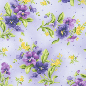 Emma's Garden - Pansy Bouquets Light Purple Yardage