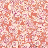 Zola - Etched Floral Coral Yardage