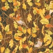 Autumn Air - Birds and the Breeze Mahogany Metallic Yardage
