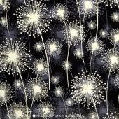 Nature's Pearl - Dandelion Fields Black Pearlized Yardage