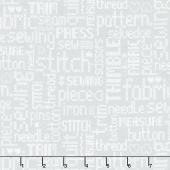 My Happy Place - Embroidered Words Gray Yardage