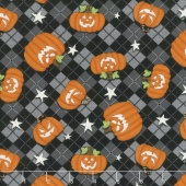 Ghostly Glow Town - Tossed Pumpkins Black Glow in the Dark Yardage