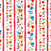 Seuss Chef - Stripes White Yardage