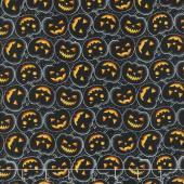 Hocus Pocus - Tossed Pumpkin Black Metallic Yardage