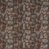 Outdoor Adventures - Animals on Distressed Wood Brown Flannel Yardage
