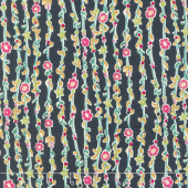 Butterfly Dance - Vine of Flowers Navy Yardage
