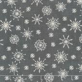 Plaid for the Holidays - Snowflake Toss Black Yardage