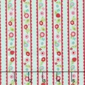 Butterflies and Berries - Butterflies Stripe Mint Yardage