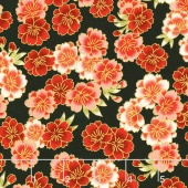 Imperial Collection 13 - Black Cherry Blossoms Black Metallic Yardage