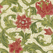 Morris Holiday 1905 - Single Stem Linen Metallic Yardage