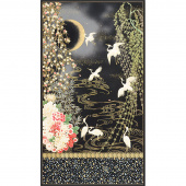 Imperial Collection 16 - Flowers Cranes Onyx Metallic Panel