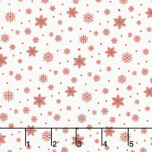 Farmhouse Christmas - Snowflakes Red Cream Yardage