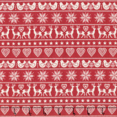 Scandi 5 - Border Stripe Red Yardage