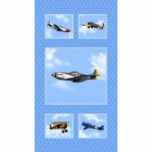 Air Show - Antique Planes Blue Panel