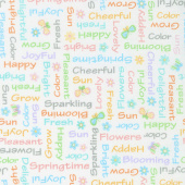 Some Bunny Loves You - Springtime Words White Multi Yardage