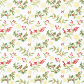 Festive Chickadee - Festive Holly Toss White Metallic Yardage