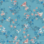 Birdsong - Bird on a Limb Turquoise Yardage