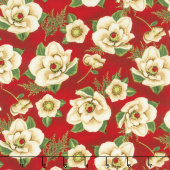 Holiday Lane - Magnolias Red Yardage