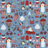 Celebrate America! - Icons Blue Yardage