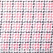 Cozy Cotton Flannels - Plaid Houndstooth Bubble Gum Yardage