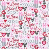 Hearts of Love - Words White Multi Yardage