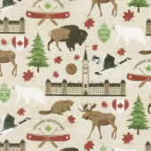 Canadian Classics - Canadian Icons Beige Digitally Printed Yardage