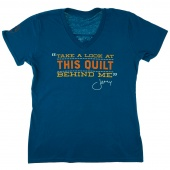 Take a Look at This Quilt Behind Me Ladies V-Neck Teal T-Shirt - Large
