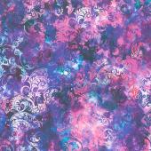 Floragraphix V - Leaf Swirl Purple Yardage