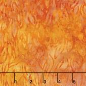 Malam Batiks V - Leaves Gold Orange Yardage